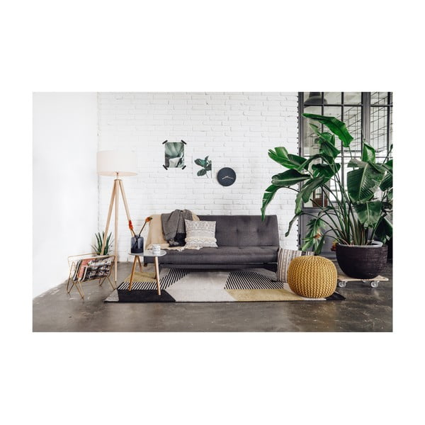 Ciemnoszara rozkładana sofa z szarymi nogami loomi.design Ozzie