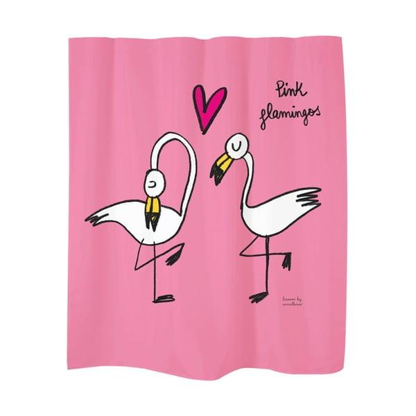 Zasłona prysznicowa Flamingos Pink