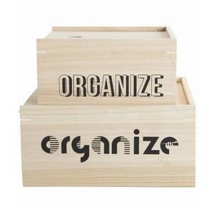 Komplet 2 drewnianych pojemników Organize