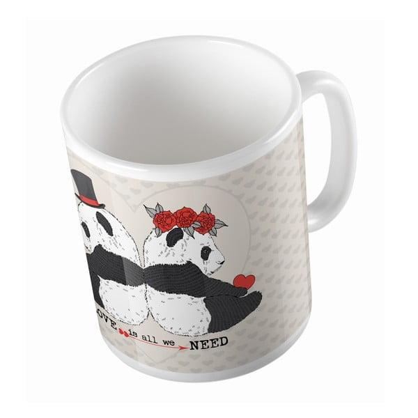 Ceramiczny kubek Panda Wedding, 330 ml