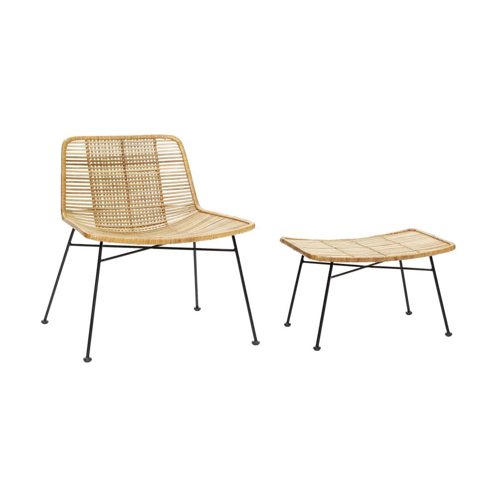 Zestaw rattanowego fotela i podnóżka Hübsch Retto