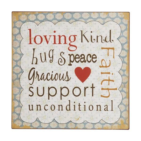 Tablica Loving, kind, hugs, 31x31 cm