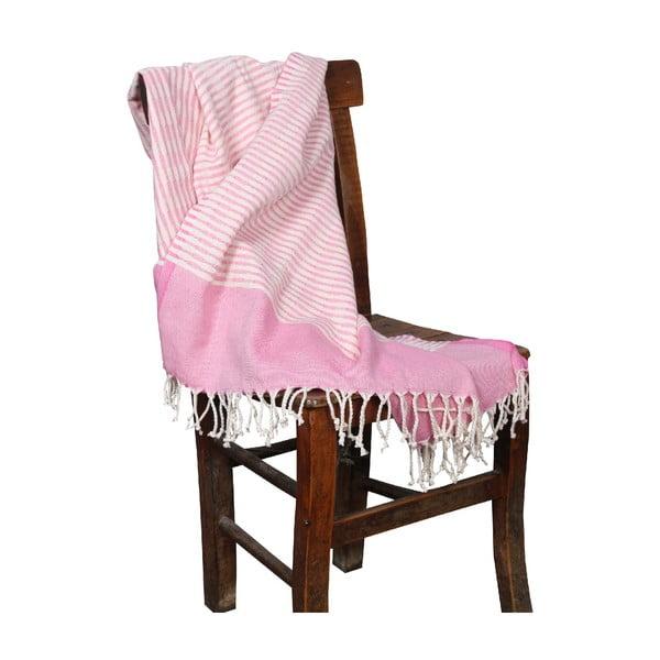 Różowy ręcznik hammam Yummy Pink, 90x190cm