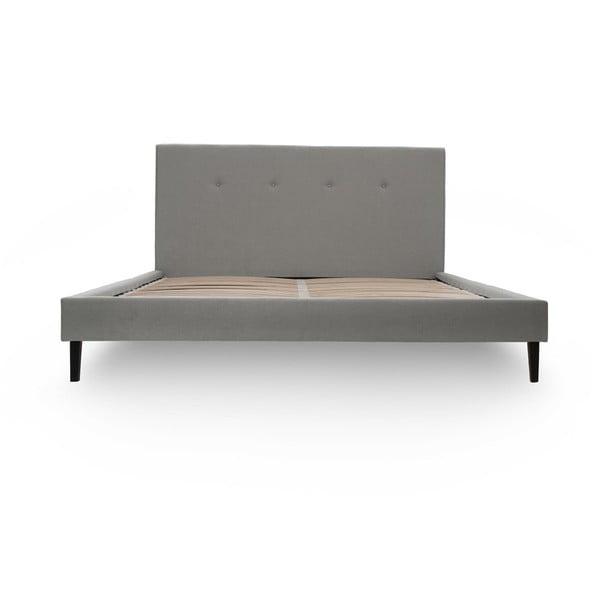 Jasnoszare łóżko z czarnymi nóżkami Vivonita Kent, 140x200 cm