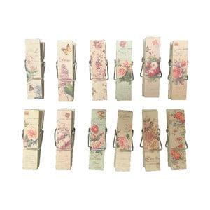 Zestaw 12 spinaczy do wieszania prania Antic Line Romantic
