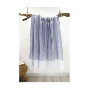 Niebiesko-biały ręcznik Hammam Traditional Style, 80x175 cm