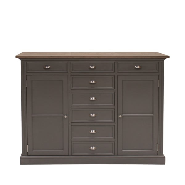 Szara komoda Canett Royal Highboard, 8 szuflad