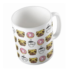 Ceramiczny kubek Butter Kings Coffee Time With Pug, 330 ml
