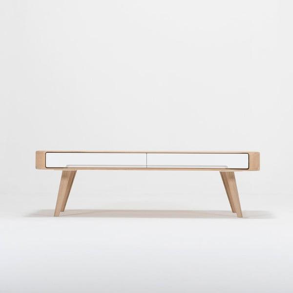 Stolik z konstrukcją z litego drewna dębowego z szufladą Gazzda Ena