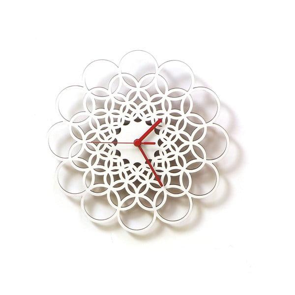 Zegar drewniany Rings, biały, 29 cm