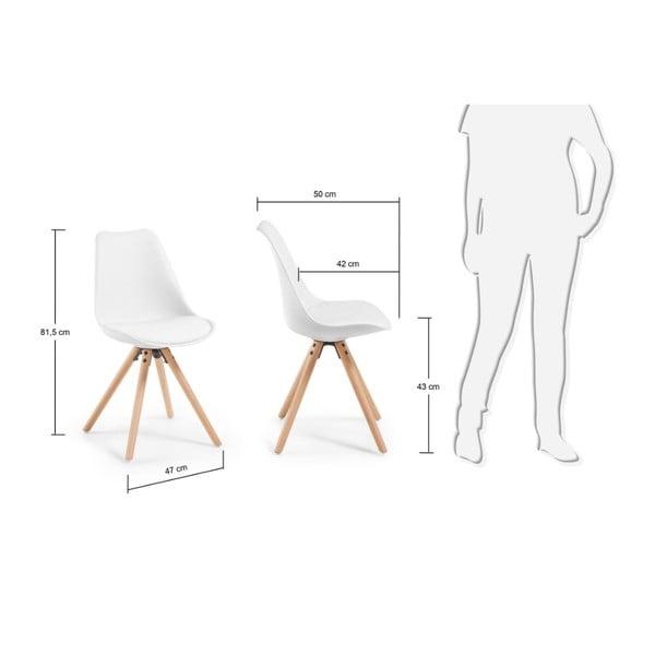 Białe krzesło z drewnianymi nogami La Forma Lars