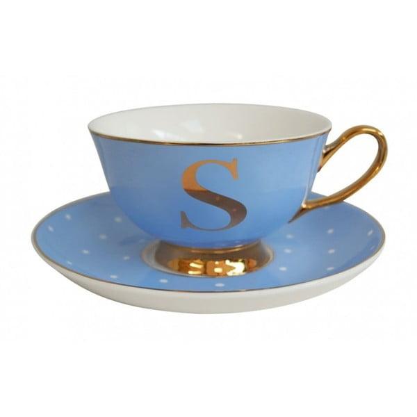 Niebieska   filiżanka ze spodkiem z literą S Bombay Duck