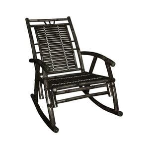 Czarny fotel bujany z bambusu Leitmotiv