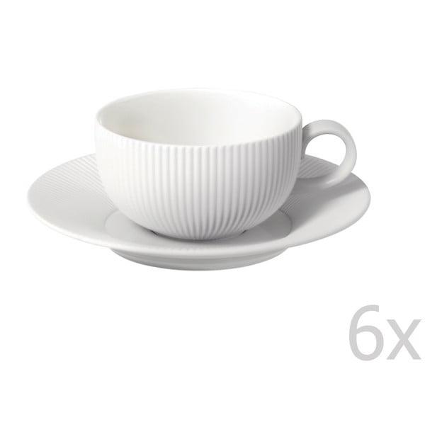 Zestaw 6 filiżanek z podstawkami z porcelany angielskiej Flute, 250 ml