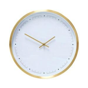 Biały zegar wiszący z ramką w złotej barwie Hübsch Ib