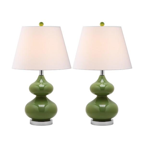 Zestaw 2 lamp stołowych z zieloną podstawą Safavieh Gabriel