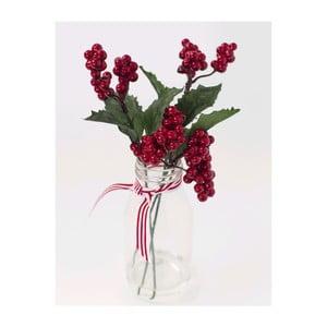 Szklany wazon ze sztucznymi kwiatami Berry, 25 cm