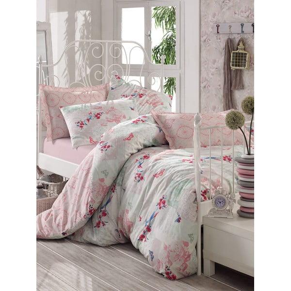 Różowa pościel z prześcieradłem na łóżko jednoosobowe Love Colors Molly, 160 x 220 cm