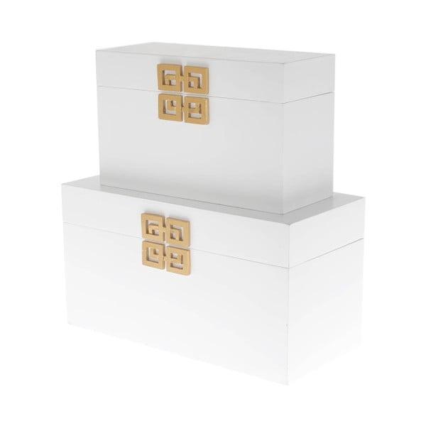 Komplet 2 drewnianych pudełek InArt, biały