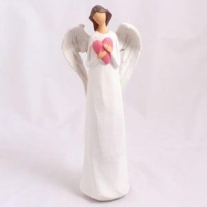Ceramiczny anioł z sercem, biały