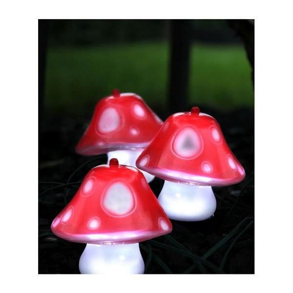 Zestaw 3 ogrodowych dekoracji świetlnych Best Season Mushroom