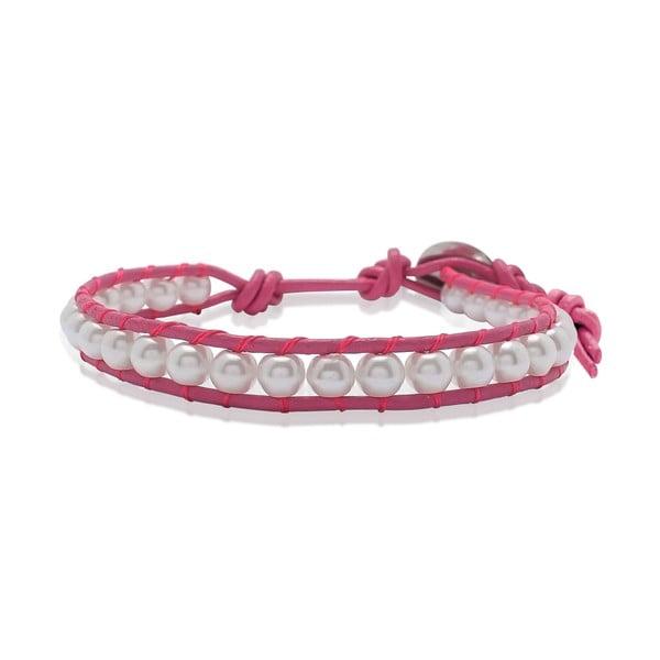 Růžový bransoletka ze skóry z perłami Lucie & Jade