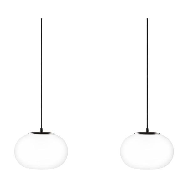 Podwójna szklana lampa wisząca z czarną oprawką Sotto Luce DOSEI