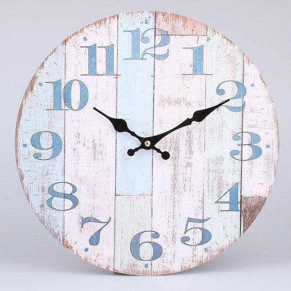 Drewniany zegar Blue Country, 34x34 cm