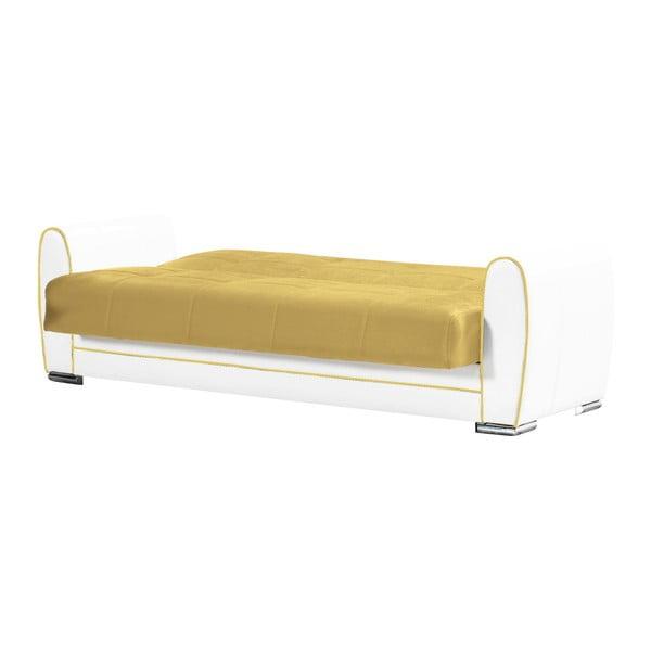 Ciemnożółto-kremowa trzyosobowa sofa rozkładana ze schowkiem Esidra Rest