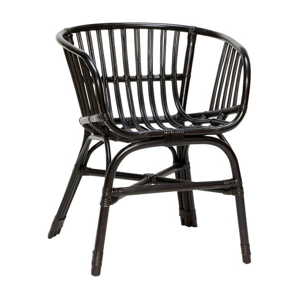 Czarny fotel rattanowy Hübsch Christofferson