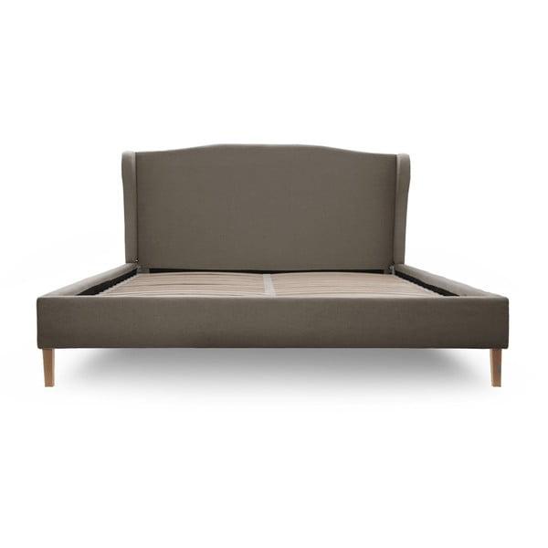 Szare łóżko z naturalnymi nóżkami Vivonita Windsor, 140x200 cm