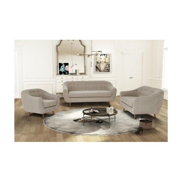 Szarobrązowy zestaw fotela i 2 sof dwuosobowej i trzyosobowej Jalouse Maison Vicky