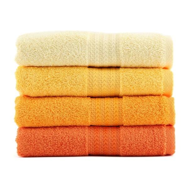 Zestaw 4 ręczników Rainbow Daisy, 70x140cm