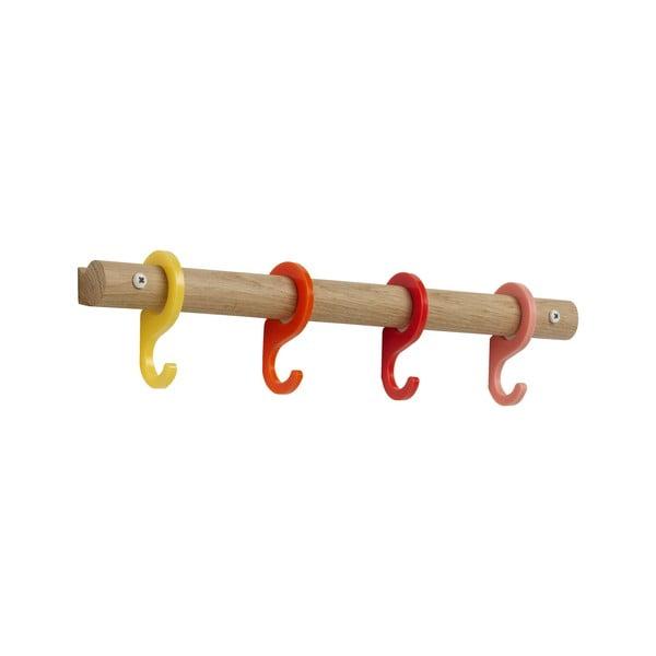 Wieszak z kolorowymi haczykami Rainbow Red, 40 cm