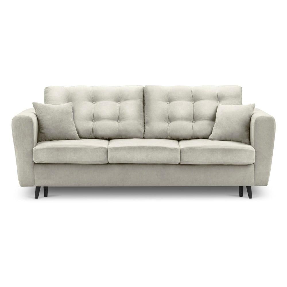 Jasnobeżowa rozkładana sofa ze schowkiem Kooko Home Chillout