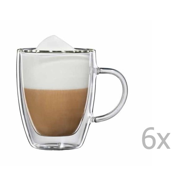 Zestaw  6 szklanych filiżanek na cappuccino z uchem bloomix Verona