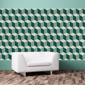 Zestaw 12 naklejek na ścianę Walplus Green 3D Cubes Wall Mural