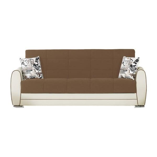 Brązowo-kremowa trzyosobowa sofa rozkładana ze schowkiem Esidra Rest
