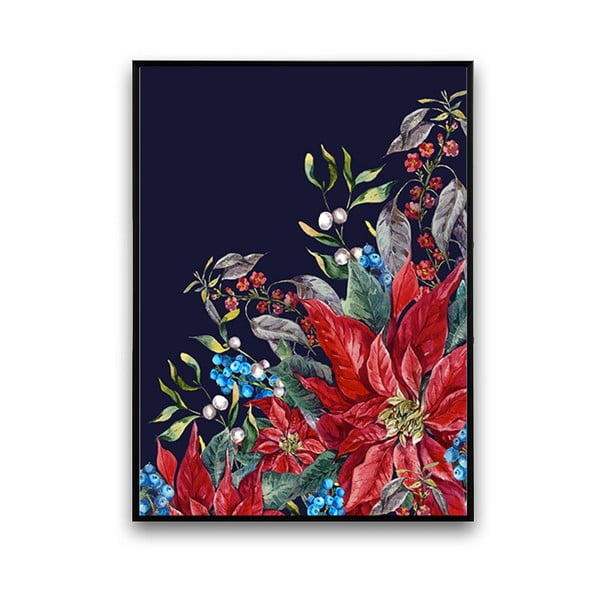 Plakat z kwiatami, czarne tło, 30 x 40 cm