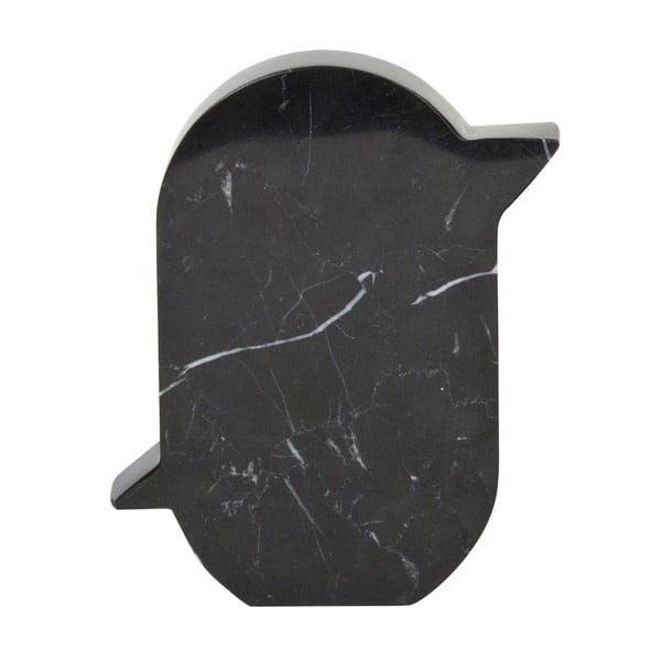 Marmurowa dekoracja Birdy 12x15 cm, czarna