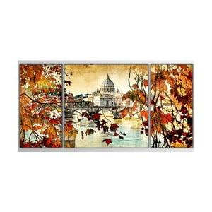 Trzyczęściowy obraz Asymetric Autumn, 80x40 cm