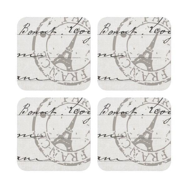 Komplet 4 podstawek pod kubek Paris Stamp