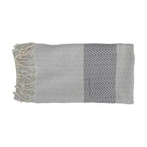 Szary ręcznie tkany ręcznik z bawełny premium Damla,100x180 cm