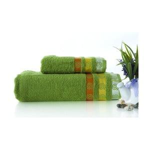 Zestaw 2 ręczników Truva Green, 90x150 i 50x90 cm