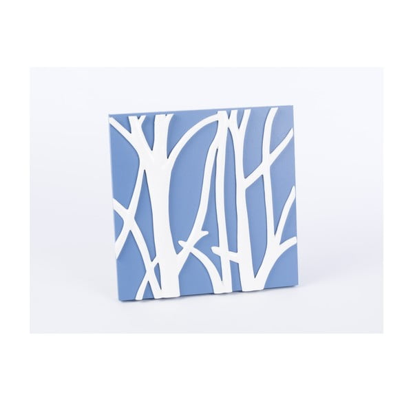 Drewniany obraz Branch 30x30 cm, niebieski