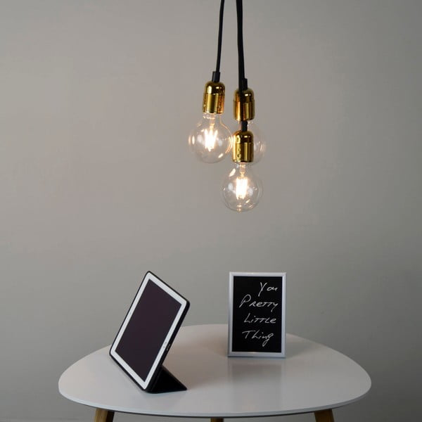 Lampa wisząca z 3 czarnymi kablami i oprawą żarówki w złotym kolorze Bulb Attack Uno Group