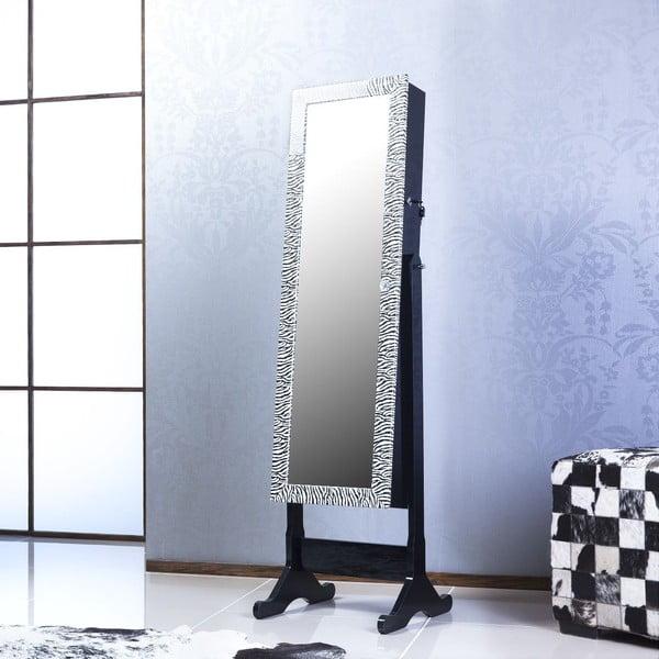 Zamykane lustro stojące ze schowkiem Adonna, zeberka