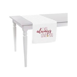 Biały bieżnik Apolena Always Love You, 40x140 cm