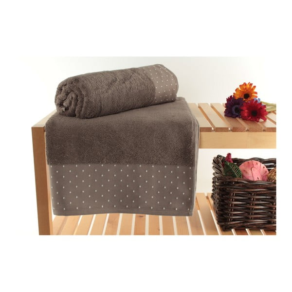 Zestaw 2 brązowych ręczników kąpielowych Patricia, 90x150 cm