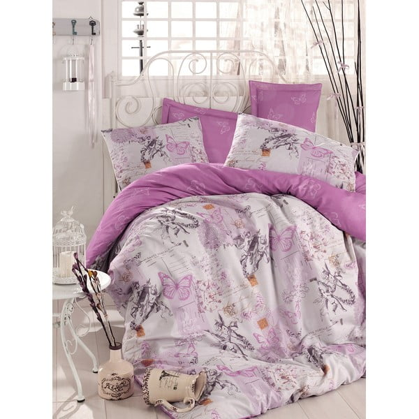 Fioletowa pościel z prześcieradłem na łóżko dwuosobowe Love Colors Halen, 200 x 220 cm